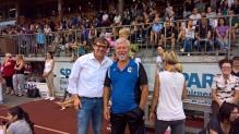 Stadtrat Christoph Thoma gratulierte Charly Hubmair zu den großartigen Leistungen der Turnerschaft Bludenz beim 69. Landesjugendturnfest.
